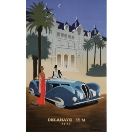 "Original Vintage Poster lithograph for ""Delahaye 135M"" by Fix-Masseau 1989"