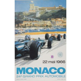 Vintage LATE PRINT Poster 24th Grand Prix de Monaco Race by Turner 1966