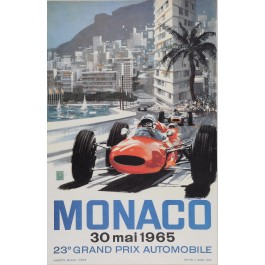 Vintage LATE PRINT Poster for 23rd Grand Prix de Monaco Race by Turner 1965