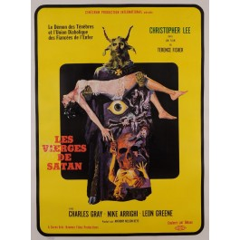 "Original Vintage French Movie Poster for ""LES VIERGES DE SATAN"" 1968"