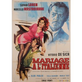 "Original Vintage French Movie Poster for ""MARIAGE A L'ITALIENNE"" by LUCA CROVATO 1964"