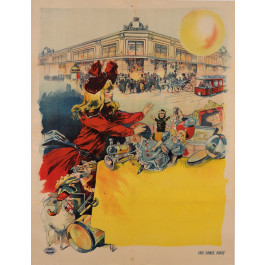 Original Vintage French BEFORE LETTERS Poster for Department Store by Tamagno