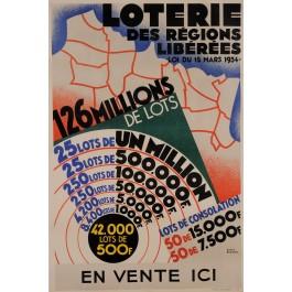 "Original Vintage French Travel Poster ""LOTERIE DES RÉGIONS LIBÉRÉES / 126 MILLIONS"" by ROGER BRODERS 1934"