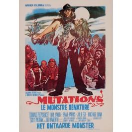 """Original Vintage Belgian Movie Poster for """"MUTATIONS / LE MONSTRE DÉNATURÉ"""" by JON ZARR HABER 1974"""