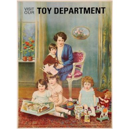 "Original Vintage American Children Poster ""Visit our Toy Department"" ca. 1900"