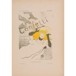 """Les Affiches Etrangeres """"Confetti"""" Stone Lithograph by Toulouse-Lautrec - 1897-99"""