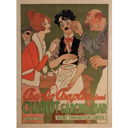 "Original Charlie Chaplin Movie Poster ""Charlot Garcon de Bar"" by Adrien Barrere"