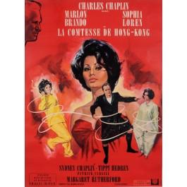 "Original French Charlie Chaplin Movie Poster for ""La Comtesse de Hong-Kong"" 1967"