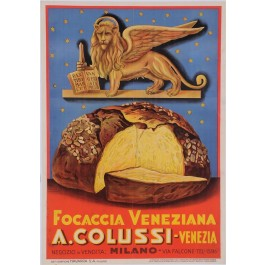 Original Italian Poster to advertise Focaccia Veneziana