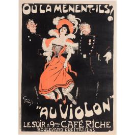 "Original Vintage French Poster ""Ou La Menent-Ils? Au Violon"" by Grun 1898"