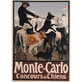 "Original Vintage French Poster ""Monte Carlo- Concours de Chiens"" by Grun"