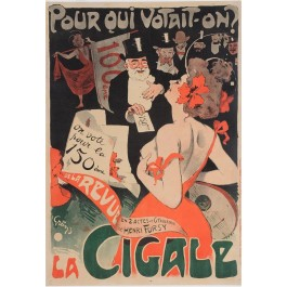 """Original Vintage French Poster """"Pour Qui Votait-On? - LA CIGAL"""" by Grun"""