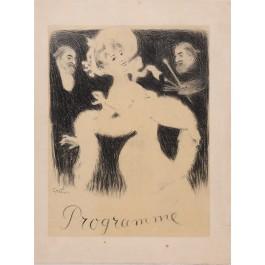 "Original Vintage French Poster ""Societe Artistique Le Cornet"" Program by Grun 1906"