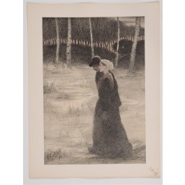 "Original French Litho ONLY L'Estampe Moderne N.12 ""La Promise"" by F. Gottlob"