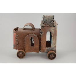 Iron Sculpture by JACK JANO (Israel) Shape of a Locomotive on Wheels