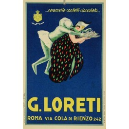 Vintage Italian Advertising Poster  LORETI Cheese ROMA VIA COLA DI RIENZO