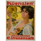 "ORIGINAL German VINTAGE Poster Advertisement ""Kurenzlen's Lemon Juice"" 1920's"
