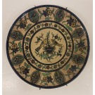 Armenian Plate Plant Birds Signed Joint Workshop Palestine 1930's-40's