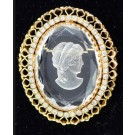 Vintage Oval Pin Brooch Engraved Crystal Silhouette Cameo Set with White Stones