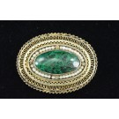 Vintage Large Oval Vintage Filigree MALACHITE Pin Brooch Pendant