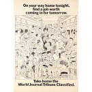 Original Vintage Poster Advertising World Journal Tribune by Poom 1967