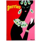 "Original Vintage French Poster Advertising ""Perrier"" by Villemot - 1980's"