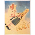 "Vintage French Champagne Poster ""Moet"" -later printing"
