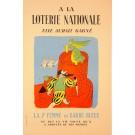 """Vintage Loterie Nationale Poster - """"ELLE AURAIT GAGNE BY LUCIEN BOUCHER"""