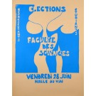 "Original French Poster Student Revolution 1968 ""Elections"""