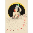 Original Watercolor Drawing of an Elegant Lady by HURRIS Circa 1930