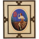 "Original Art Deco Poster in Stylish Brass Frame""Bierdsong"" by Marcel Le Boulte"