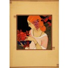 Original French Small Art Deco Lithograh Woman and Flowers