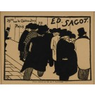 "Original Vintage French Print ""Ed Sagot"" by F. Vallotton Gold Leaf Frame 1898"