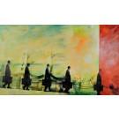 """Original Israeli Art Signed Mixed Media """"The messenger"""" by Uri Dushi"""