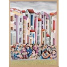 "Original Vintage Signed Lithograph Painting ""The Party""  by Yuval Mahler 1980´s"