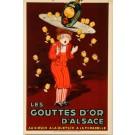 """Original Vintage Stone Lithograph """"Gouttes D'or D'alsace"""" by Jean D'Ylen"""