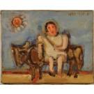Original Signed Oil on Canvad Little Girl by Shmuel Boneh 1965