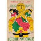 "Original Vintage Loterie Nationale Poster ""Tirage le 18 Aout"" ca.1960"