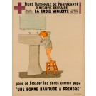 "Original Vintage Educational French Poster by ""National League of Dental Hygiene"""