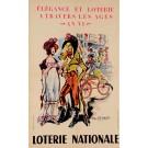 """Original Loterie Nationale Poster """"Elegance et Lorerie A Travers Les Ages An Vi"""" by Yan Roypaey 1962"""