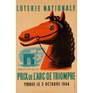"""Original Vintage Loterie Nationale Poster """"Prix de L'Arc De Triomphe"""" 1954"""