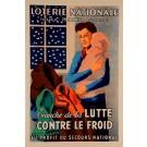 """Original Vintage Loterie Nationale Poster """"Cranche de la Lutte Contre le Froid"""" P. Besniard 1941"""