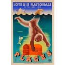 "Original Vintage Loterie Nationale Poster ""Plages 1939"" by Derouet Lesacq"