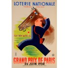 "Original Loterie Nationale Poster ""Grand Prix de Paris"" by Derouet & Lesacq 1938"