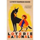 """Original Vintage Loterie Nationale Poster """"La Petit Chaperon Rouge"""" signed Gad 1950's"""