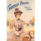 """Original Vintage French Poster """"Chocolat Poulain"""" by Louise Abbema"""