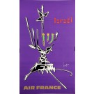 "Original Vintage French Poster for ""Air France Israel"" by Mathieu Georges 1960's"