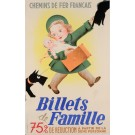 "Original French ART DECO Travel Advertising Poster ""Billets de Famille"" by Gar-Retto 1937"