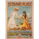 Original Vintage Poster Advertising Hendaye-Plage France-Espana by NYK 1920's