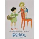 """Original Vintage Swiss Poster Advertising """"Chocolat Fins Kohler"""""""